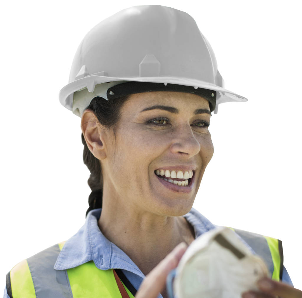 Construction woman in hard hat and high visibility