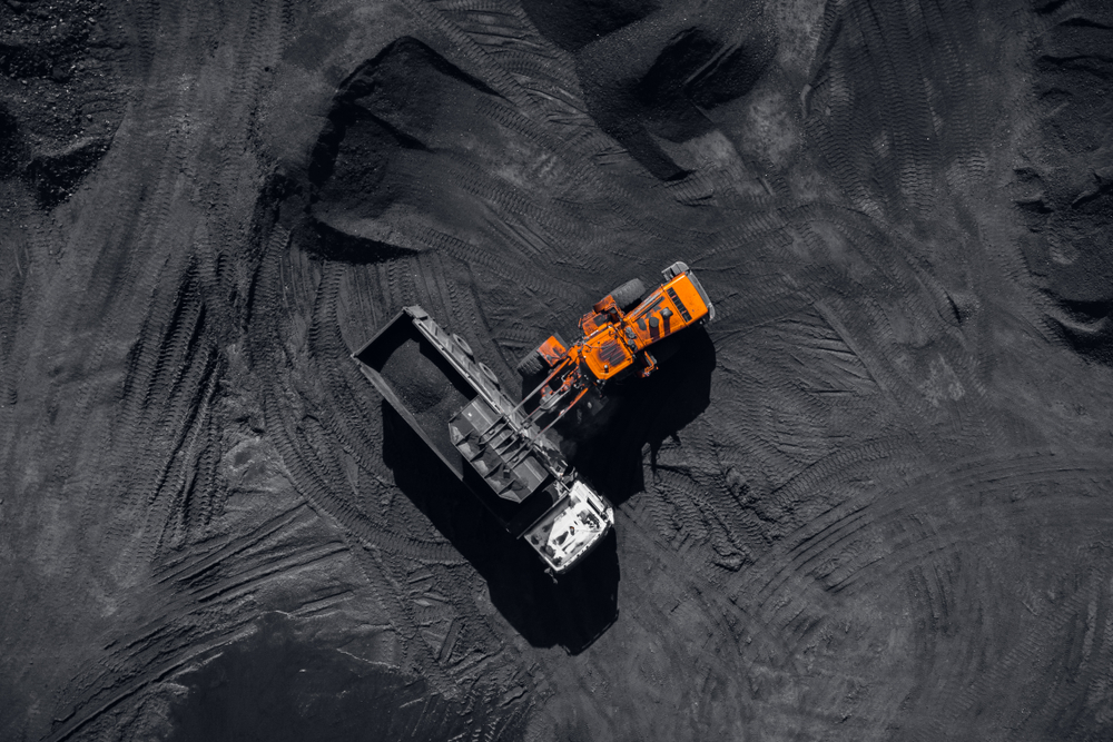 pen pit mine, extractive industry for coal, top view aerial drone P