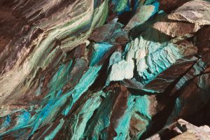 Abstract view of the wall of a copper mine